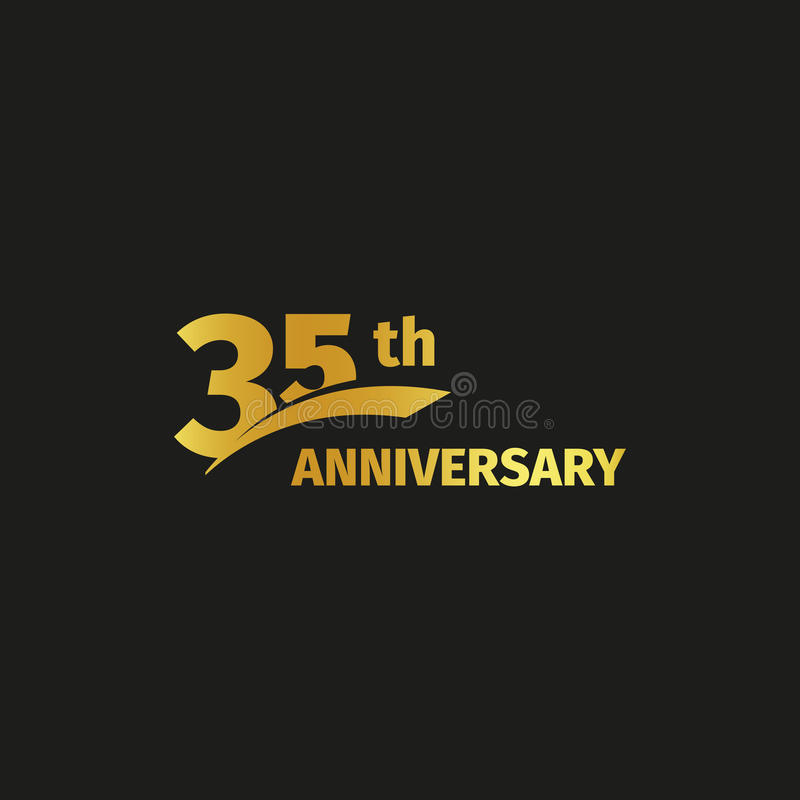 Isolated abstract golden 35th anniversary logo on black background. 35 number logotype. Thirty-five years jubilee. Celebration icon. Thirty-fifth birthday vector illustration