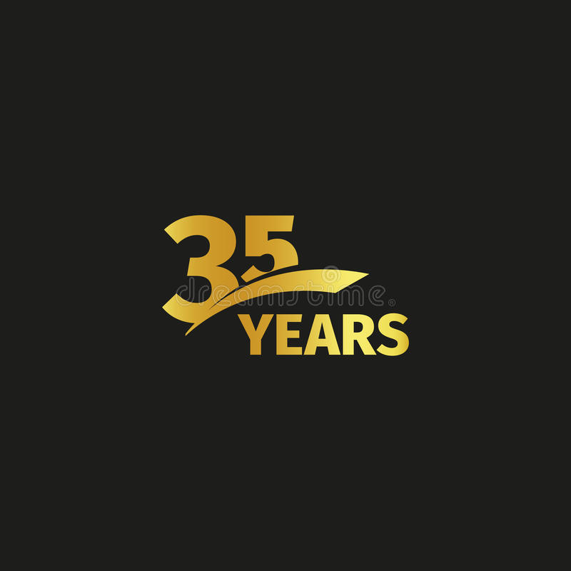 Isolated abstract golden 35th anniversary logo on black background. 35 number logotype. Thirty-five years jubilee stock illustration