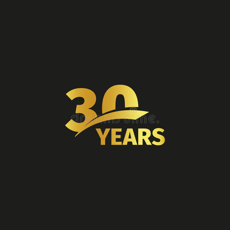 Isolated abstract golden 30th anniversary logo on black background. 30 number logotype. Thirty years jubilee celebration. Icon. Thirtieth birthday emblem vector illustration