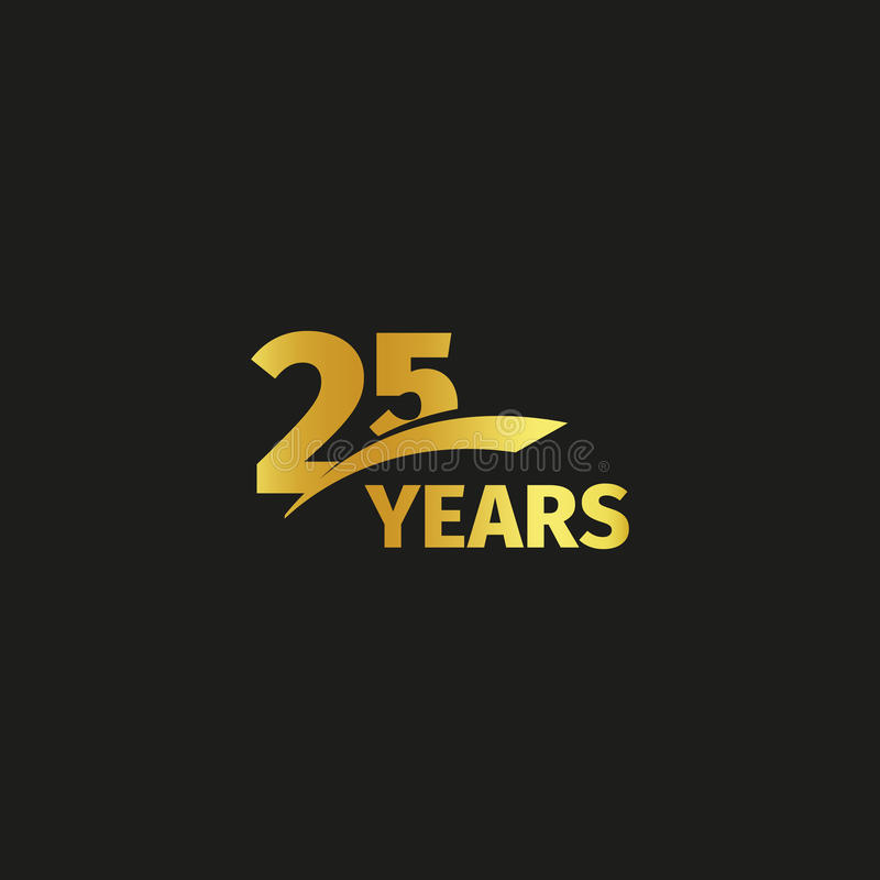 Isolated abstract golden 25th anniversary logo on black background. 25 number logotype. Twenty five years jubilee. Isolated abstract golden 25th anniversary logo vector illustration
