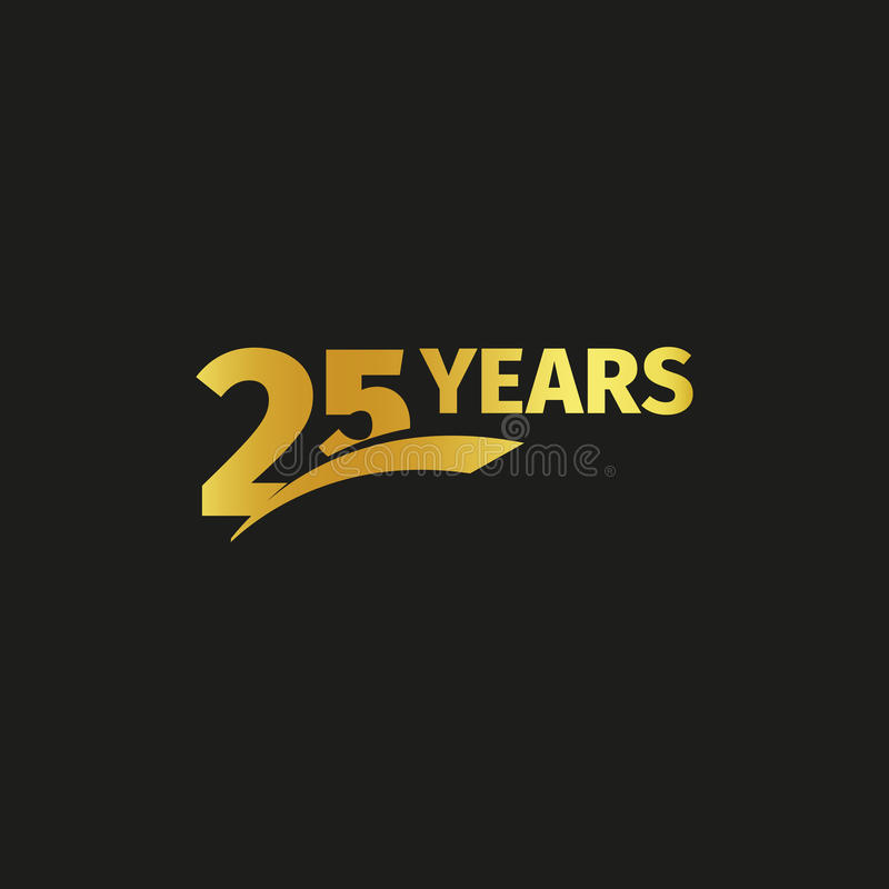 Isolated abstract golden 25th anniversary logo on black background. 25 number logotype. Twenty five years jubilee. Isolated abstract golden 25th anniversary logo stock illustration