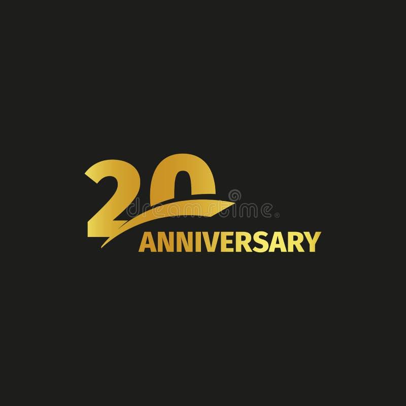 Isolated abstract golden 20th anniversary logo on black background. 20 number logotype. Twenty years jubilee celebration. Icon. Twentieth birthday emblem stock illustration