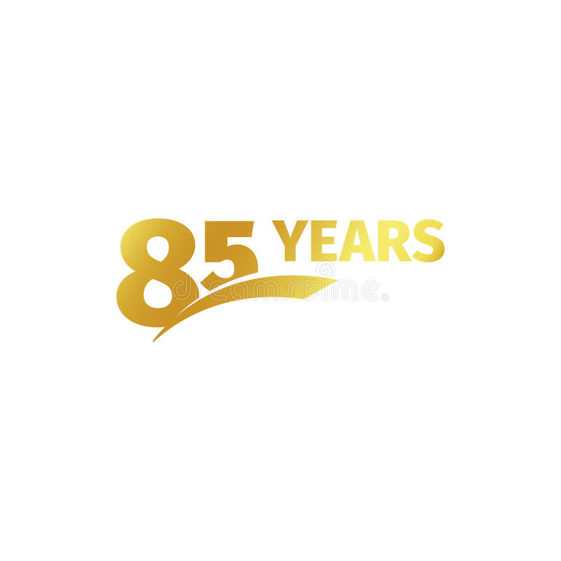 Isolated abstract golden 85th anniversary logo on white background. 85 number logotype. Eighty-five years jubilee. Celebration icon. Birthday emblem. Vector royalty free illustration