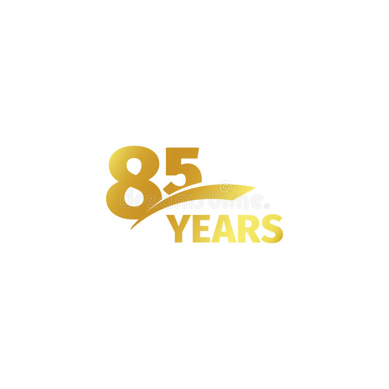 Isolated abstract golden 85th anniversary logo on white background. 85 number logotype. Eighty-five years jubilee. Celebration icon. Birthday emblem. Vector vector illustration