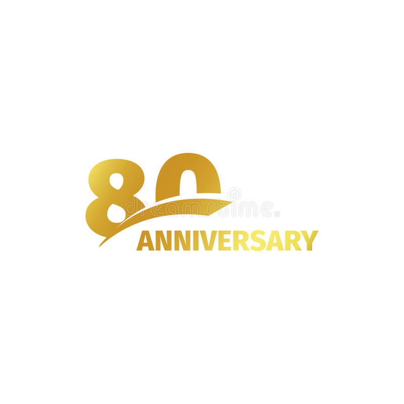Isolated abstract golden 80th anniversary logo on white background. 80 number logotype. Eighty years jubilee celebration. Icon. Eightieth birthday emblem vector illustration