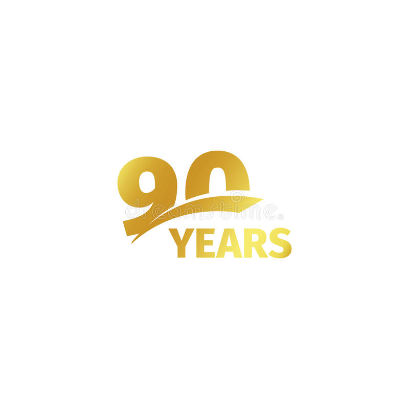 Isolated abstract golden 90th anniversary logo on white background. 90 number logotype. Ninty years jubilee celebration. Icon. Nintieth birthday emblem. Vector royalty free illustration