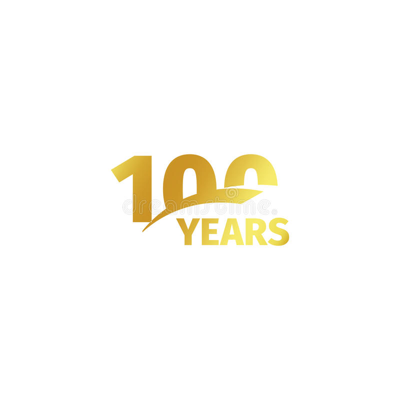 Isolated abstract golden 100th anniversary logo on white background. 100 number logotype. One hundred years jubilee. Celebration icon. Hundredth birthday emblem vector illustration