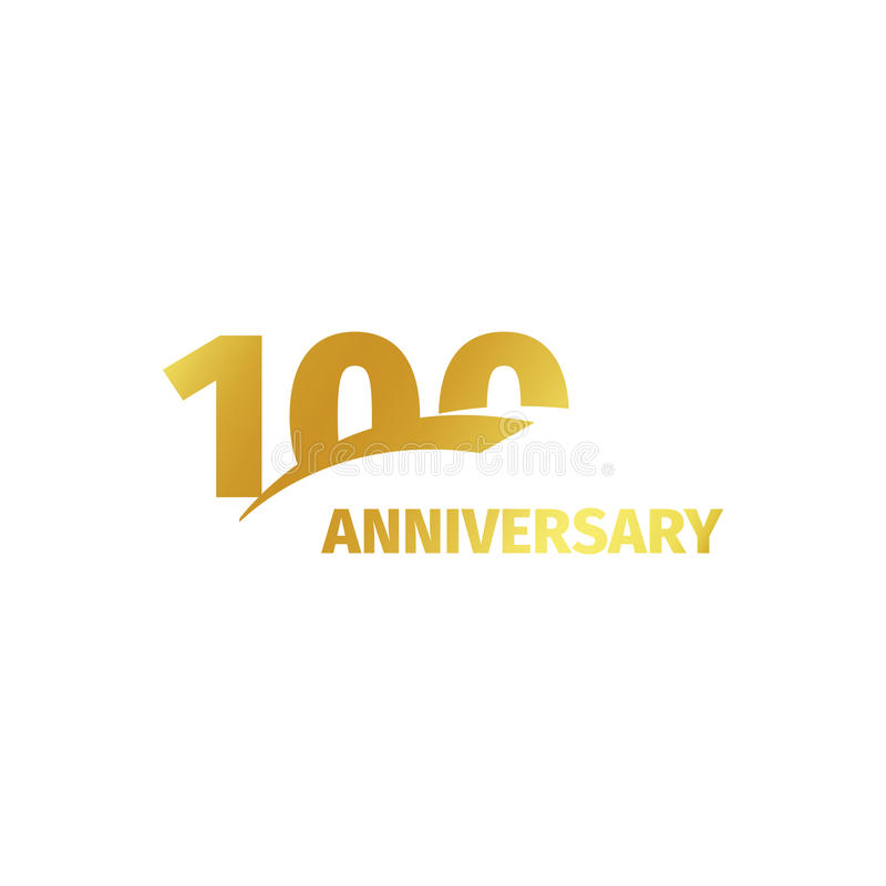 Isolated abstract golden 100th anniversary logo on white background. 100 number logotype. One hundred years jubilee. Celebration icon. Hundredth birthday emblem stock illustration