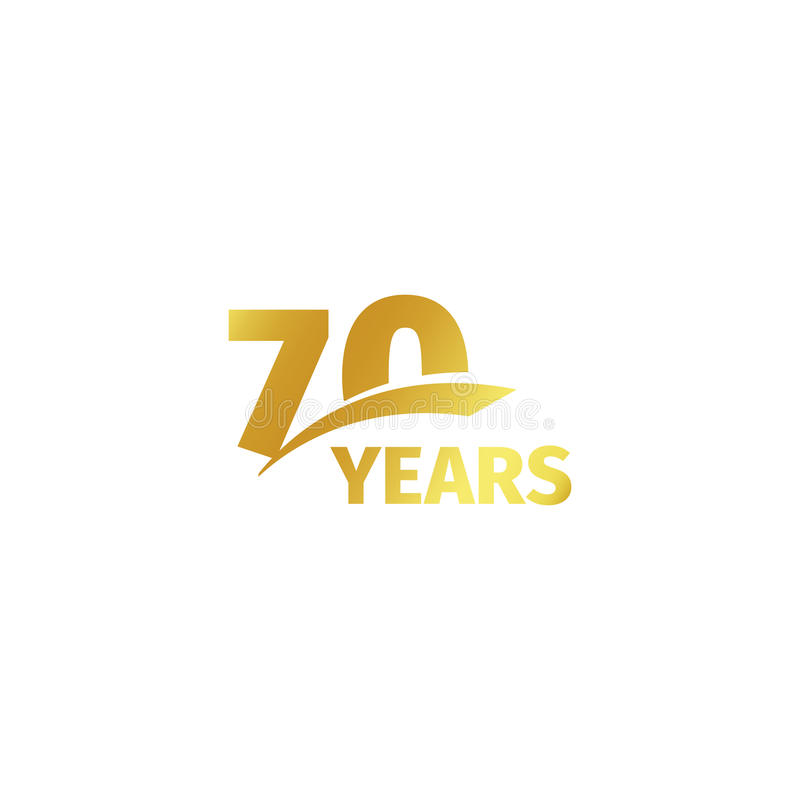 Isolated abstract golden 70th anniversary logo on white background. 70 number logotype. Seventy years jubilee. Celebration icon. Seventieth birthday emblem royalty free illustration