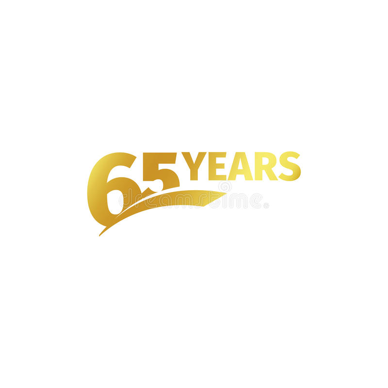 Isolated abstract golden 65th anniversary logo on white background. 65 number logotype. Sixty-five years jubilee. Celebration icon. Birthday emblem. Vector vector illustration
