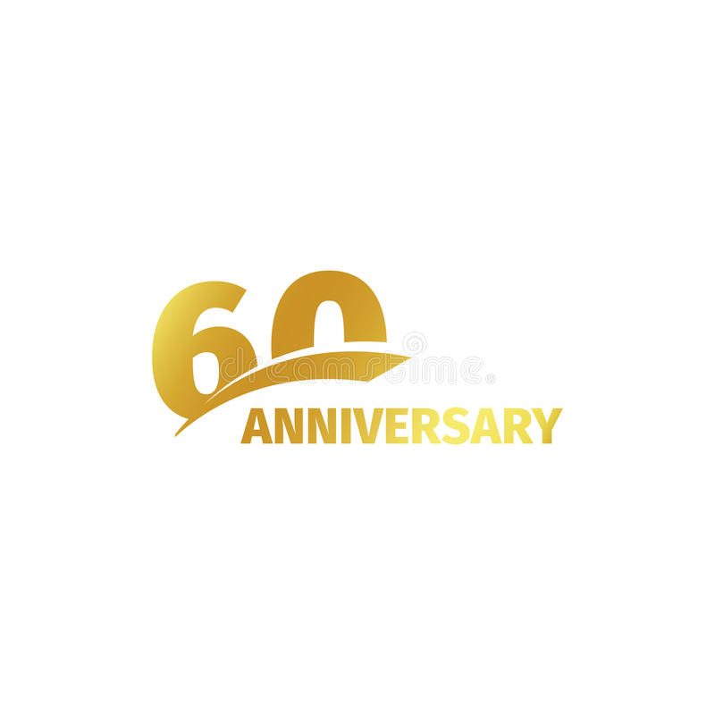 Isolated abstract golden 60th anniversary logo on white background. 60 number logotype. Sixty years jubilee celebration. Isolated abstract golden 600th stock illustration