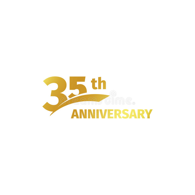 Isolated abstract golden 35th anniversary logo on white background. 35 number logotype. Thirty-five years jubilee. Celebration icon. Birthday emblem. Vector stock illustration