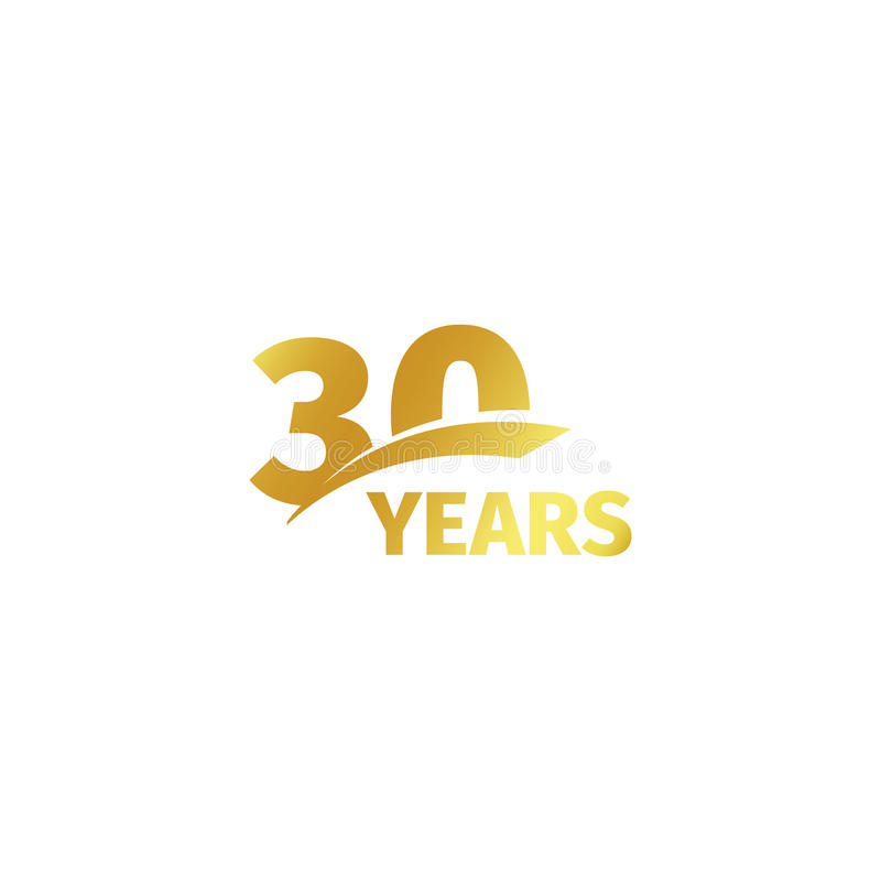 Isolated abstract golden 30th anniversary logo on white background. 30 number logotype. Thirty years jubilee celebration. Icon. Thirtieth birthday emblem stock illustration