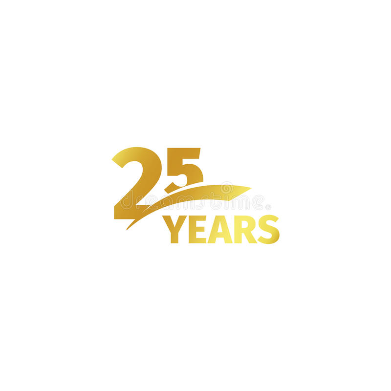 Isolated abstract golden 25th anniversary logo on white background. 25 number logotype. Twenty-five years jubilee stock illustration