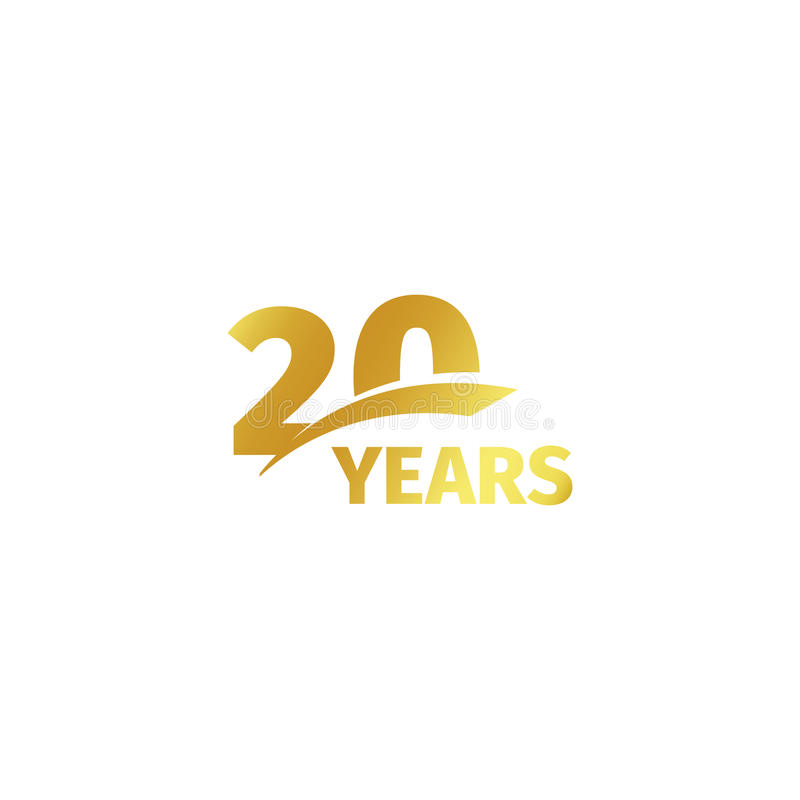 Isolated abstract golden 20th anniversary logo on white background. 20 number logotype. Twenty years jubilee celebration. Icon. Twentieth birthday emblem vector illustration