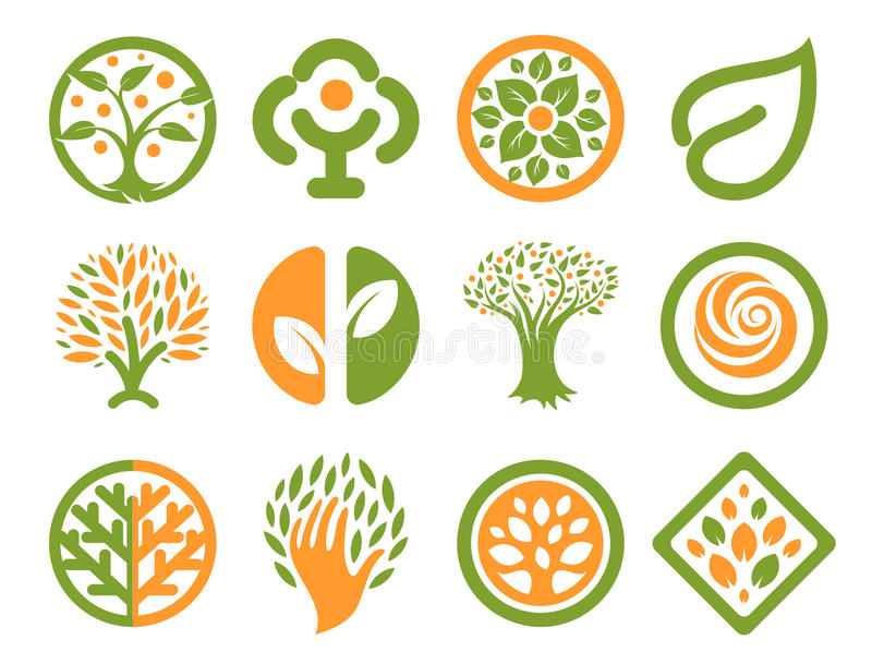 Isolated abstract green, orange color natural logo set. Nature logotypes collection. Environmental icons. Park emblem stock illustration