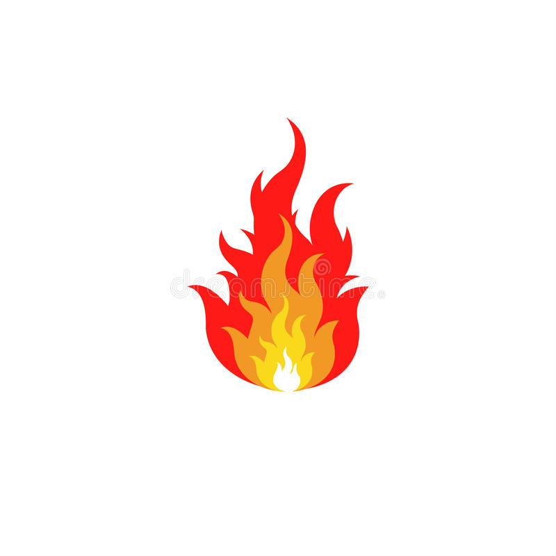 Isolated abstract red and orange color fire flame logo on white background. Campfire logotype. Spicy food symbol. Heat. Isolated abstract red and orange color royalty free illustration