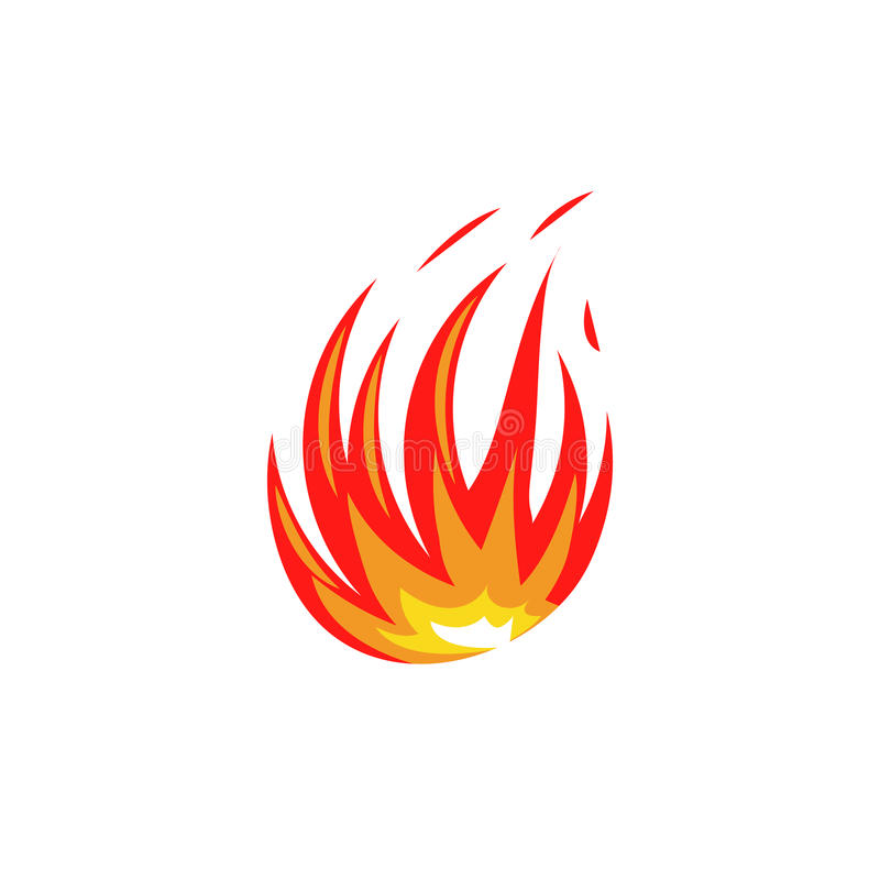 Isolated abstract red and orange color fire flame logo on white background. Campfire logotype. Spicy food symbol. Heat. Isolated abstract red and orange color stock illustration