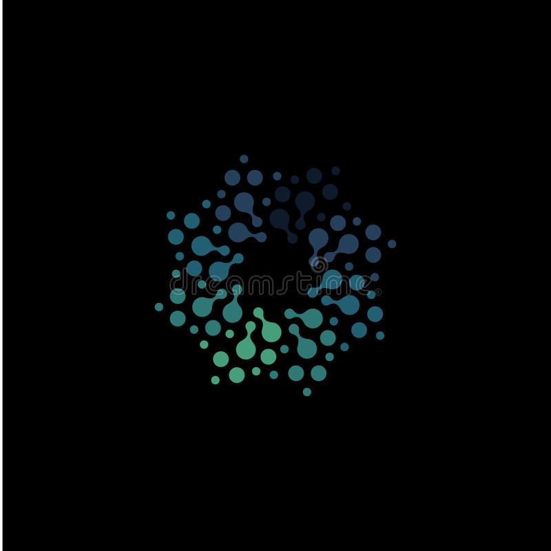 Isolated abstract round shape blue color logo, dotted logotype, water element vector illustration on black background royalty free illustration