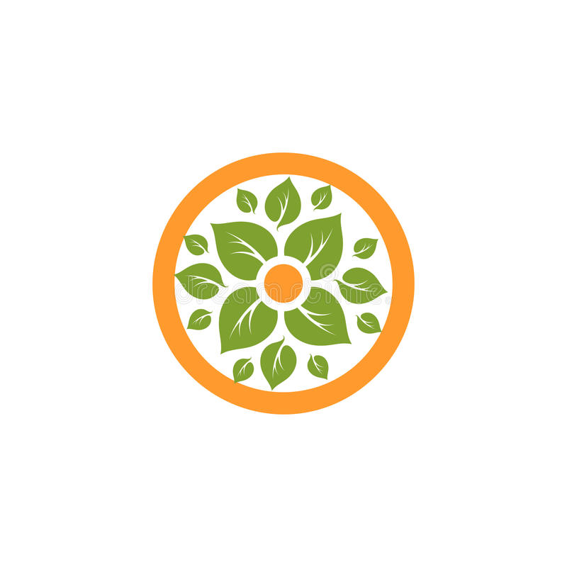 Isolated abstract round shape natural logo. Green leaves in orange circle logotype. Flower icon. Eco products sign. Organic symbol. Healing herbs emblem royalty free illustration
