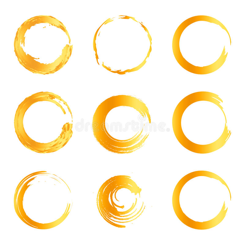 Free Isolated Abstract Round Shape Orange Color Logo Collection, Sun Logotype Set, Geometric Circles Vector Illustration Stock Image - 94575321