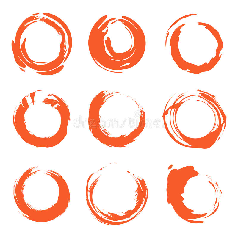 Free Isolated Abstract Round Shape Orange Color Logo Collection, Sun Logotype Set, Geometric Circles Vector Illustration. Royalty Free Stock Photos - 94575338