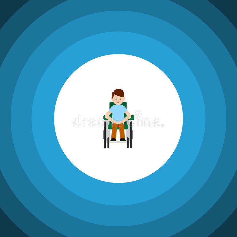 Isolated Accessible Flat Icon. Disabled Person Vector Element Can Be Used For Handicapped, Man, Disabled Design Concept. vector illustration
