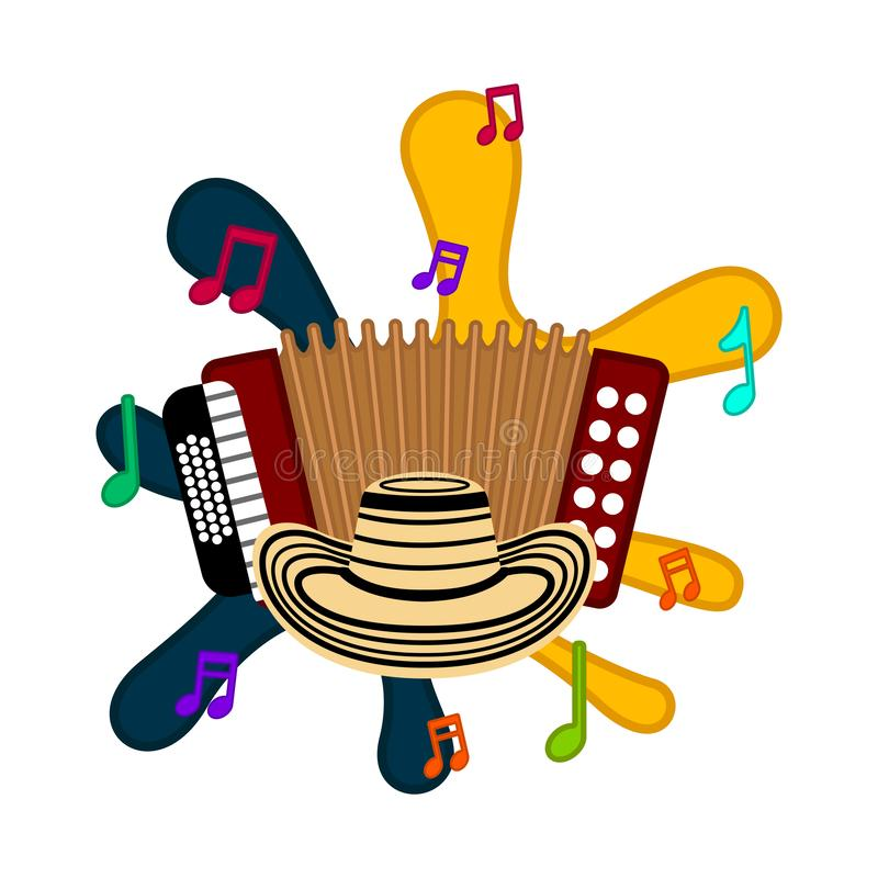 Isolated accordion image. Isolated accordion on a colored splash. Vector illustration design royalty free illustration