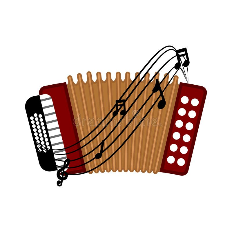 Isolated accordion image. Isolated accordion with a musical pentagram around. Vector illustration design stock illustration