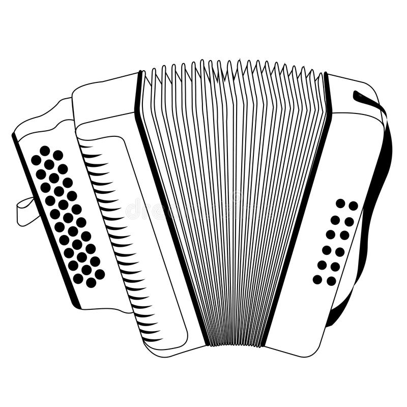 Isolated accordion outline. Isolated outline of an accordion, Vector illustration stock illustration