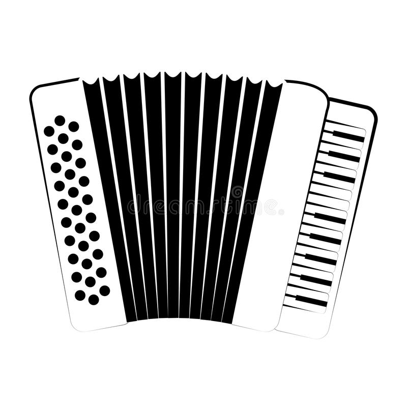 Isolated accordion outline. Musical instrument. Vector illustration design royalty free illustration