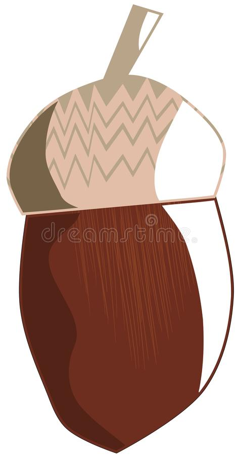 Isolated acorn. Illustration representing an acorn. A nice idea to talk about this fruit royalty free illustration