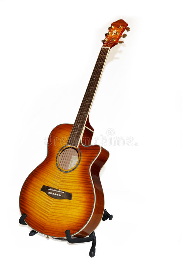 Free Isolated Acoustic 6 String Guitar On A White Backg Royalty Free Stock Images - 10192609