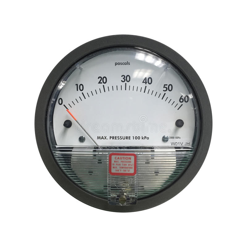 Isolated air pressure gauge. Used for measuring cleanroom pressure in medical or electrical industry royalty free stock photography