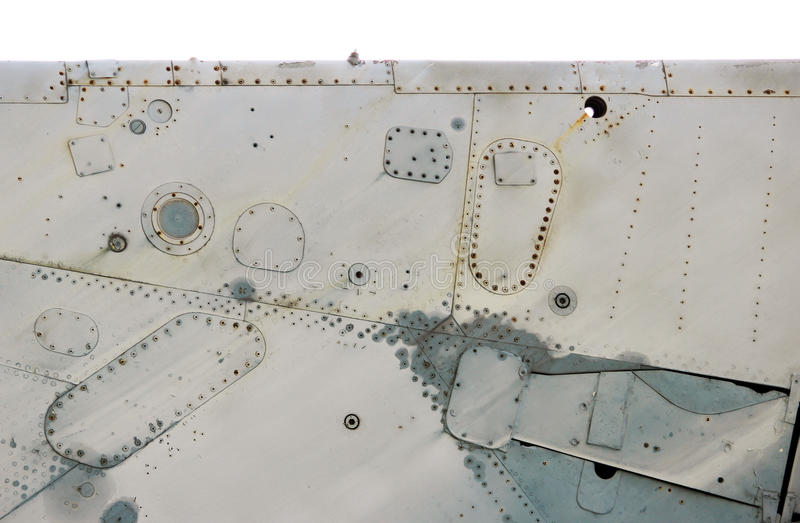 Isolated aircraft metal surface with aluminum and rivets.  stock photo
