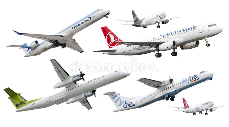 Isolated airplanes of European companies royalty free stock images