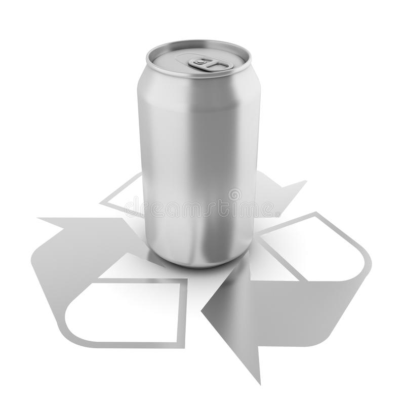 Isolated aluminium can over recycle sign royalty free illustration