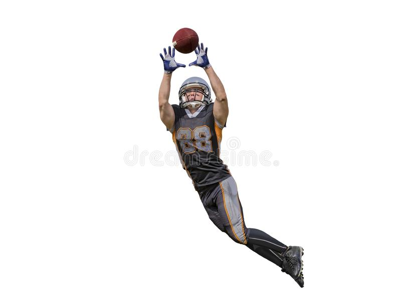 American football player catching ball isolated stock photos