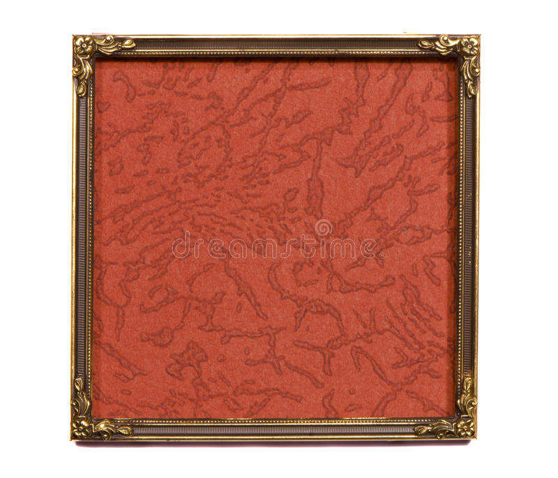 Isolated ancient brass frame with old background. Isolated on white ancient brass frame with old background royalty free stock images