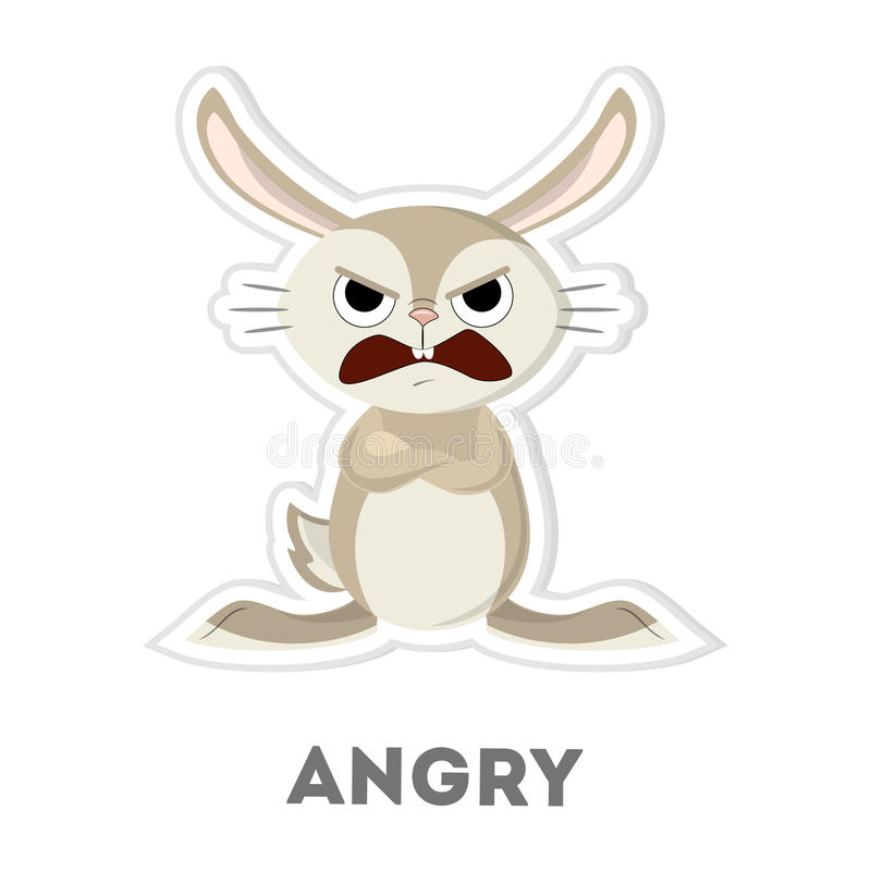 Isolated angry rabbit. stock illustration