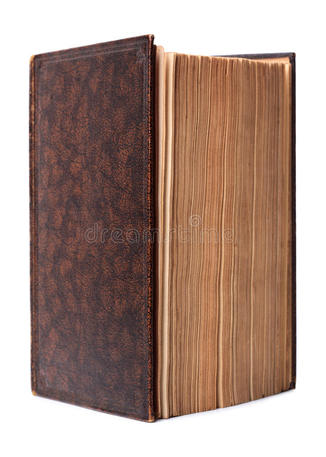 Isolated Antique Brown Hardback Book Royalty Free Stock Photography