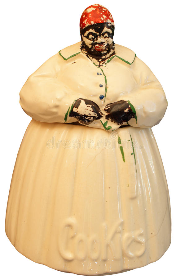 Isolated antique cookie jar royalty free stock photo
