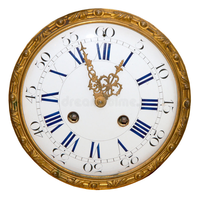 Isolated antique golden clock royalty free stock photos
