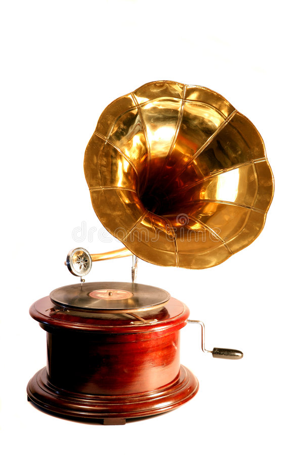 Isolated antique gramophone stock photo