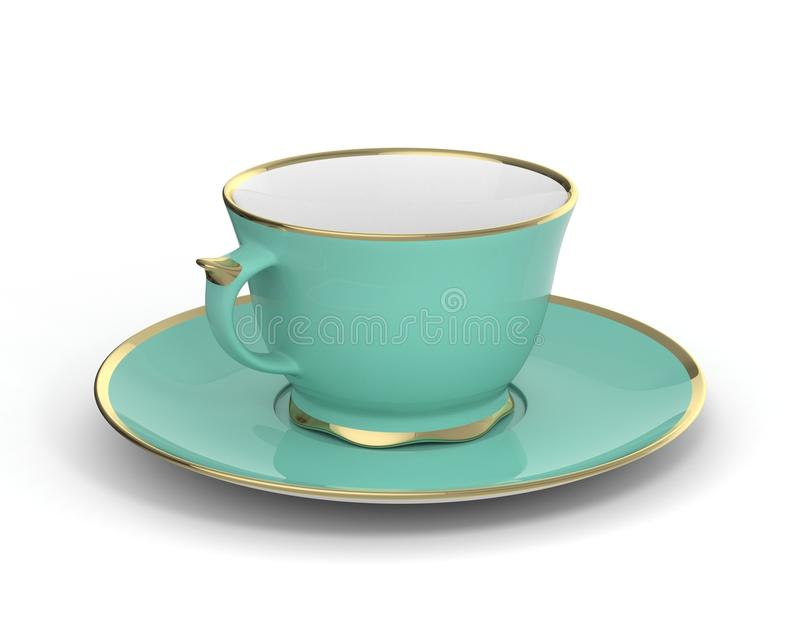 Isolated antique porcelain cup with gold on white background. 3D Illustration. Isolated antique porcelain turquoise tea cup on saucer with gold edging on white royalty free stock photography