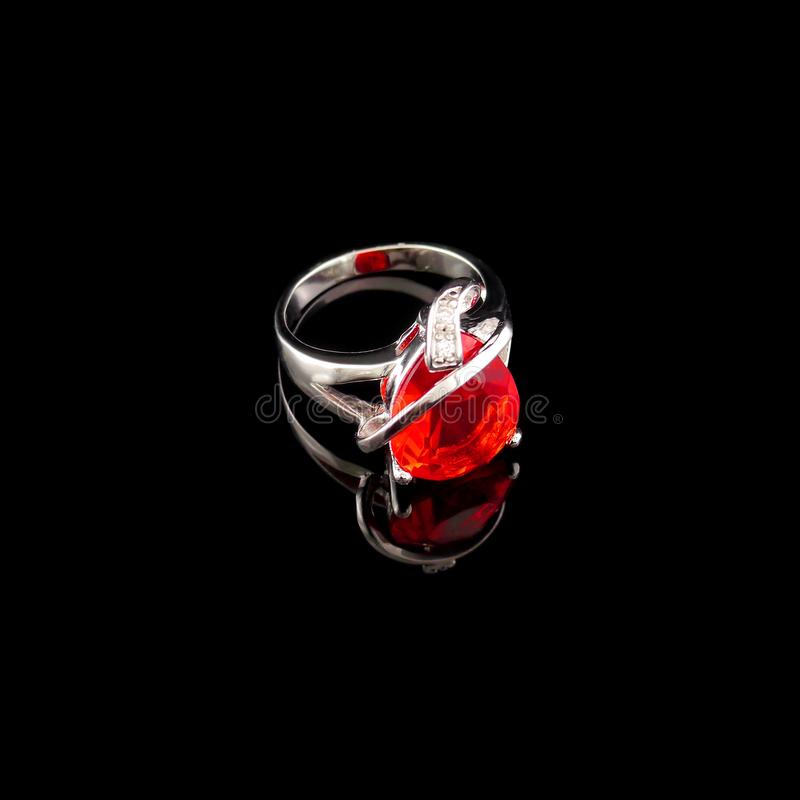 Isolated Antique Silver Ring, Fashion, Accessories, Black Isolated Background.  stock photos