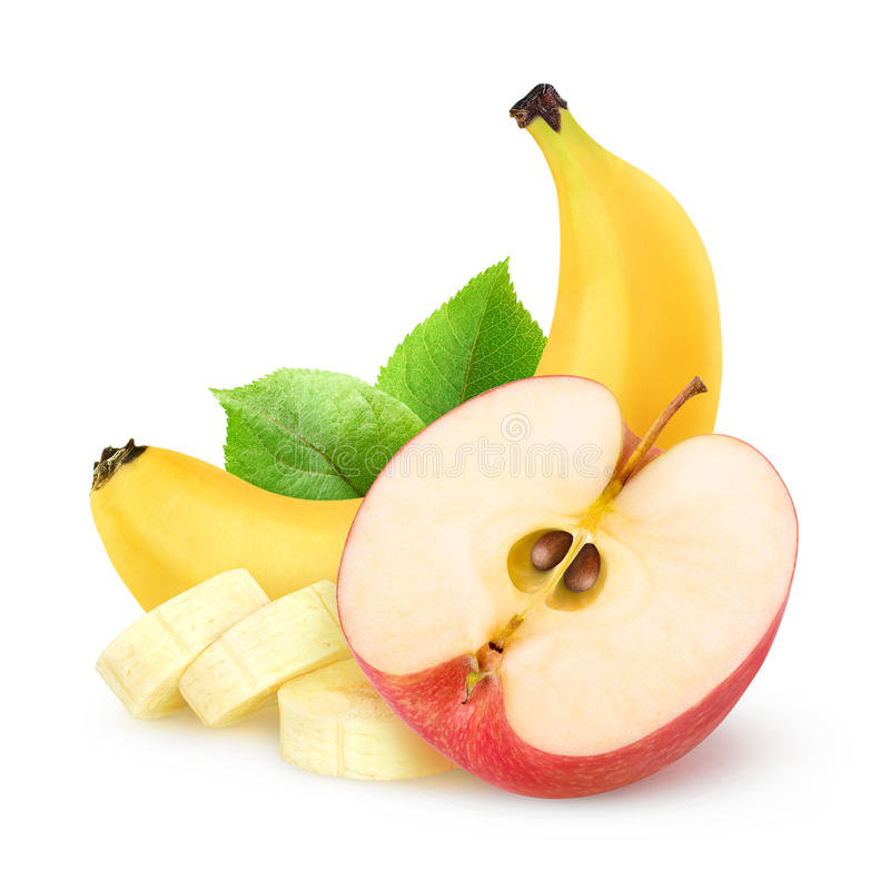 Isolated apple and banana stock photo