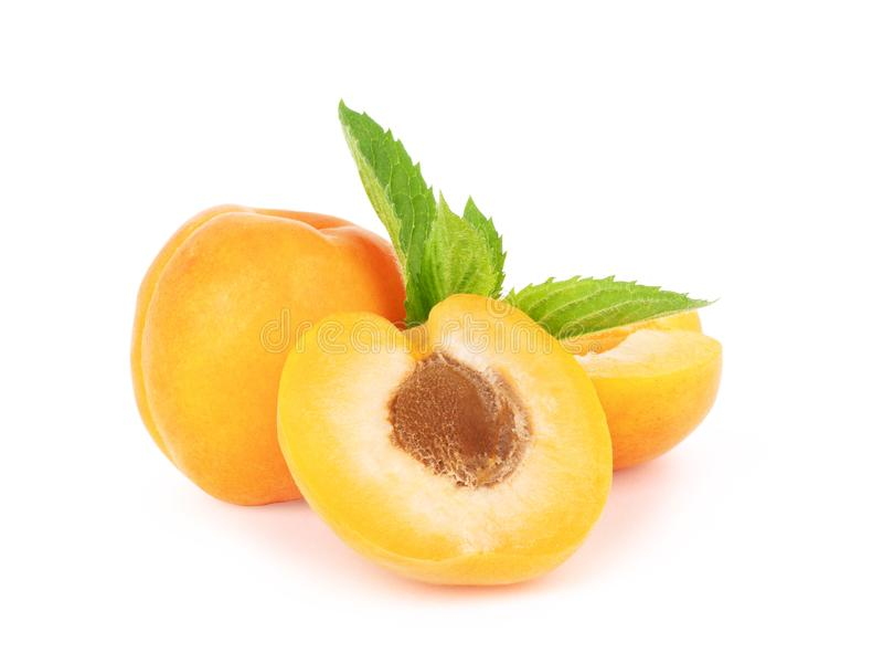 Isolated apricots. Fresh whole apricot fruit with leaf and half isolated on white background with clipping path royalty free stock image