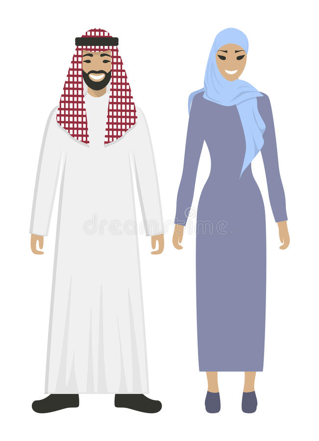 Isolated arabic couple. Isolated arabic couple on white background. Beautiful woman in abaya and handsome smiling man in keffiyeh stock illustration