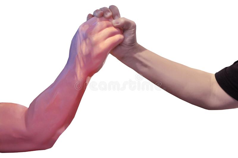 Arm wrestle between human arm and the artificial arm, human arm  is arm wrestleing robot inventor. Isolated of Arm wrestle between human arm and the artificial stock images